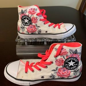 Converse all stars high top floral shoes junior 2